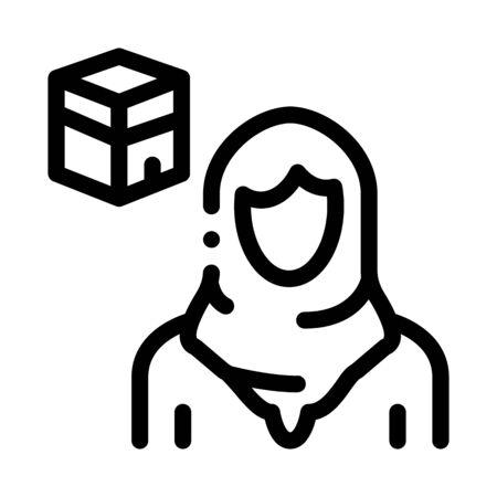 muslim woman pilgrim icon vector. muslim woman pilgrim sign. isolated contour symbol illustration