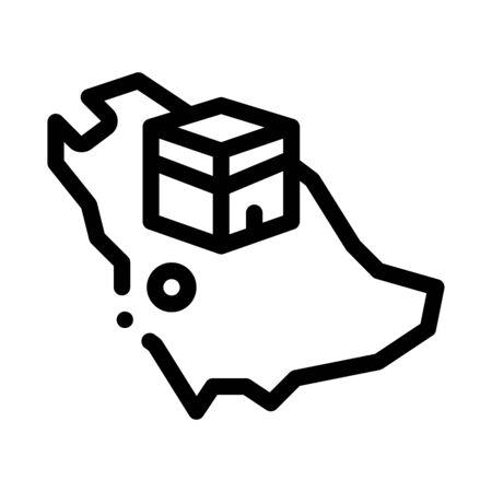location of kaaba geolocation icon vector. location of kaaba geolocation sign. isolated contour symbol illustration