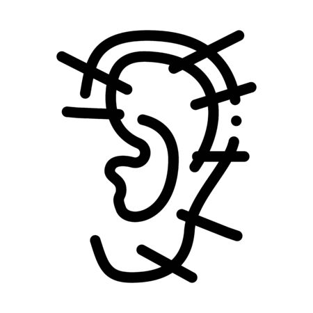 ear acupuncture icon vector. ear acupuncture sign. isolated contour symbol illustration