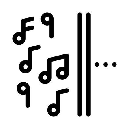 one side of music other half silence icon vector. one side of music other half silence sign. isolated contour symbol illustration