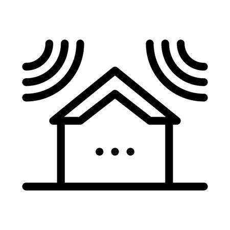 sound acting on residential building icon vector. sound acting on residential building sign. isolated contour symbol illustration Stock Illustratie