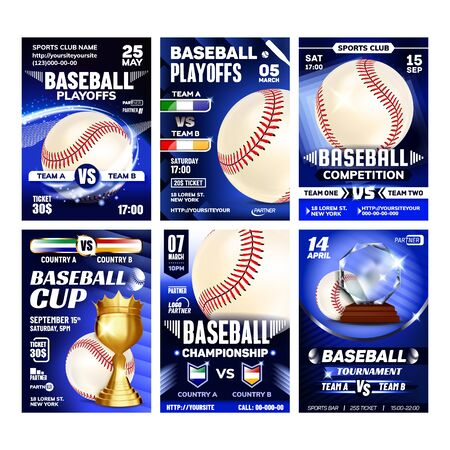 Baseball Playground Game Flyers Posters Set Vector. Leather Ball With Red Thread Stitching And Bat, Glove And Mug, American Baseball Sport Collection Different Banners. Concept Template Illustrations