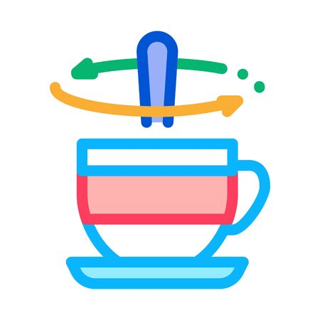 stirring spoon in cup of tea icon vector. stirring spoon in cup of tea sign. color symbol illustration