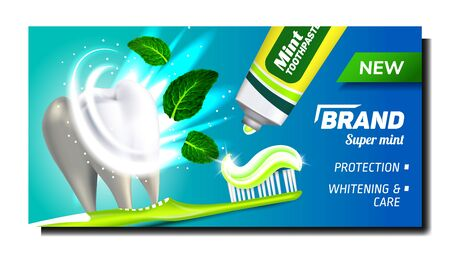 Toothpaste With Mint Advertising Poster Vector. Toothpaste Blank Tube And Toothbrush For Cleaning And Brush Tooth Bright Advertise Marketing Banner. Color Concept Template Illustration Vektoros illusztráció