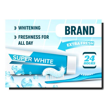 Toothpaste Oral Hygiene Product Banner Vector. Toothbrush With Toothpaste Gel, Blank Packaging And Bubbles On Bright Advertising Poster. Tooth Paste Colored Concept Template Illustration