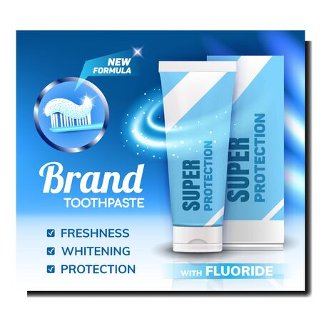 Tooth Paste Blank Package Promo Poster Vector. Toothpaste Tube And Box, Tooth Brush With Gel On Creative Marketing Flyer Banner. Dental Care And Protect Colorful Concept Layout Illustration Vettoriali