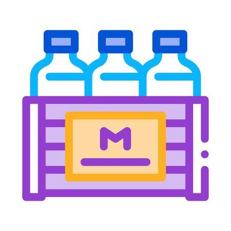 pack of milk bottles icon vector. pack of milk bottles sign. color symbol illustration