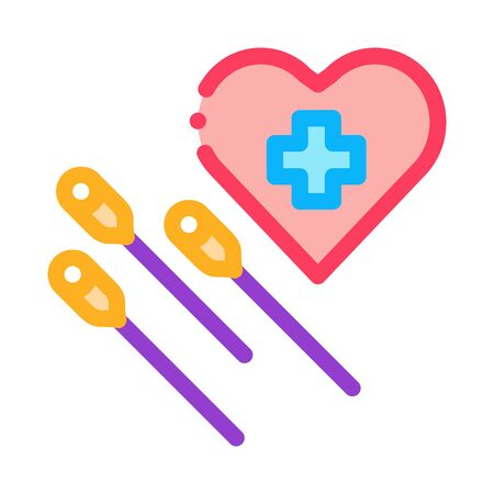 acupuncture for heart work icon vector outline illustration Illustration