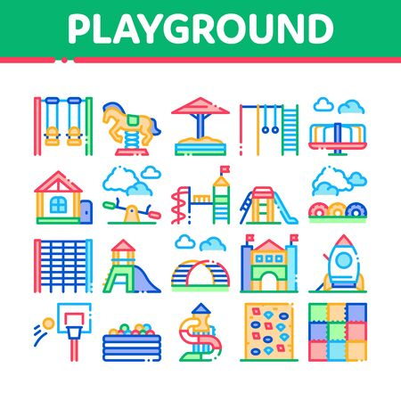 Playground Children Collection Icons Set Vector. Basketball And Climbing Wall, Seesaw And Swing In Horse Form Playground Attraction Concept Linear Pictograms. Color Illustrations