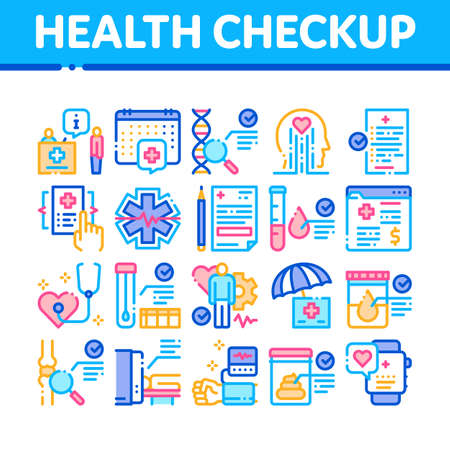 Health Checkup Medical Collection Icons Set Vector. Healthcare Checkup List And Calendar Date, Fitness Tracker And Analysis Container Concept Linear Pictograms. Color Illustrations Illustration