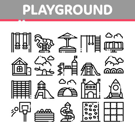 Playground Children Collection Icons Set Vector. Basketball And Climbing Wall, Seesaw And Swing In Horse Form Playground Attraction Concept Linear Pictograms. Monochrome Contour Illustrations
