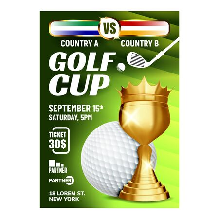 Golf Cup For Golfer Win Championship Banner Vector. Golf Ball And Club, Tee And Golden Award For Winner Player. Leisure Game Competition Promotion Announce Concept Layout Illustration