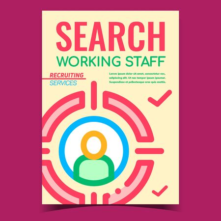Working Staff Search Promotional Banner Vector. Human Silhouette In Center Of Aim Target, Stuff Recruiting Services Creative Advertising Poster. Concept Template Stylish Color Illustration