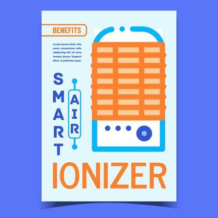 Air Ionizer Smart Device Promotional Poster Vector. Ionizer Electrical Gadget For Clean And Filter Advertising Banner. Purification Technology Concept Template Stylish Colorful Illustration