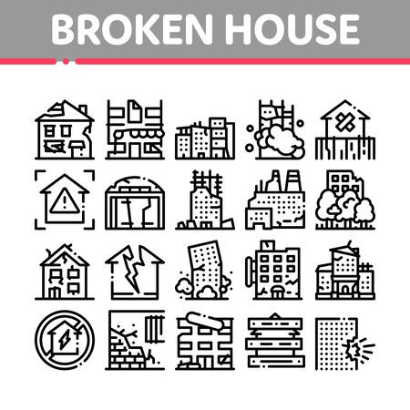 Broken House Building Collection Icons Set Vector. Crashed And Abandoned Building, Demolition Damaged Construction And Plant, Concept Linear Pictograms. Monochrome Contour Illustrations