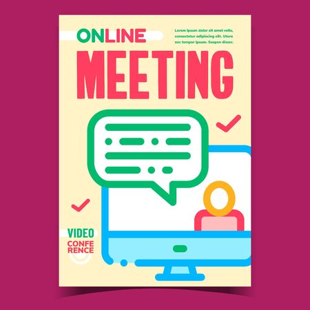 Online Meeting Creative Promotional Poster Vector. Internet Interview Communication With Candidate, Online Video Conference Advertising Banner. Concept Template Stylish Color Illustration Çizim