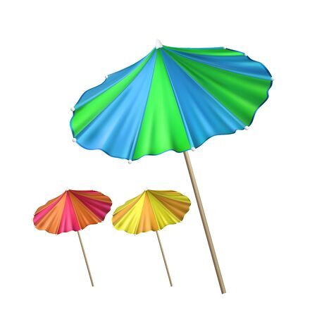 Umbrella Tool For Decorate Cocktail Set Vector. Umbrella Collection Of Different Color Ornamental Exotic Tropical Drink Juice. Recycling Material Parasol Template Realistic 3d Illustrations