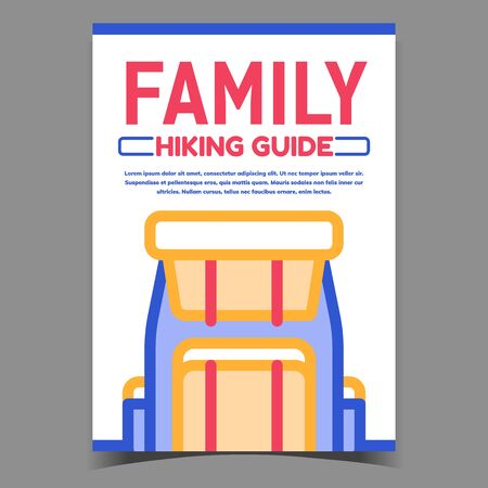 Family Hiking Guide Advertisement Poster Vector. Tourist Backpack Bag For Hiking Travel Advertising Banner. Sport Lifestyle Climbing Accessory Concept Template Stylish Colorful Illustration
