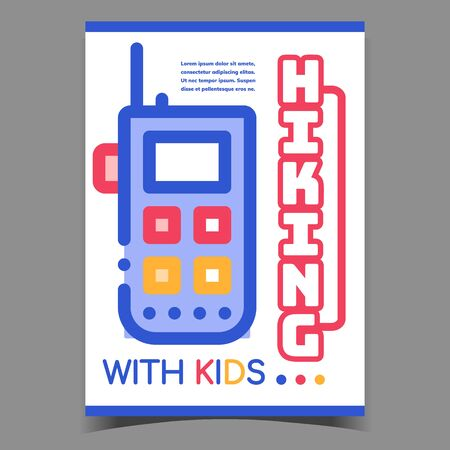 Hiking With Kids Creative Promo Banner Vector. Walkie Talkie Electronic Hiking Device For Communication Advertising Poster. Satellite Phone Gadget Concept Template Stylish Colorful Illustration