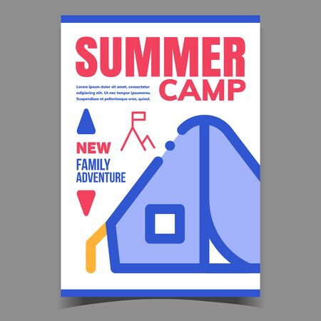 Summer Camp Creative Advertisement Poster Vector. Touristic Tent For Family Summer Adventure And Rock With Flag On Peak Advertising Banner. Camping Concept Template Stylish Colorful Illustration