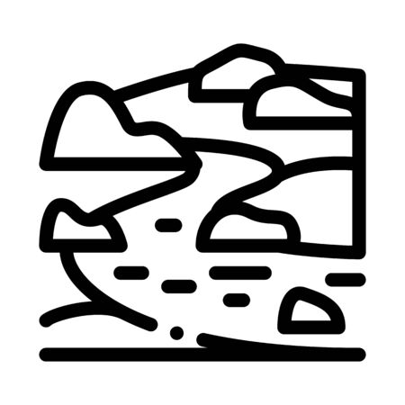 river landscape with hills icon vector. river landscape with hills sign. isolated contour symbol illustration