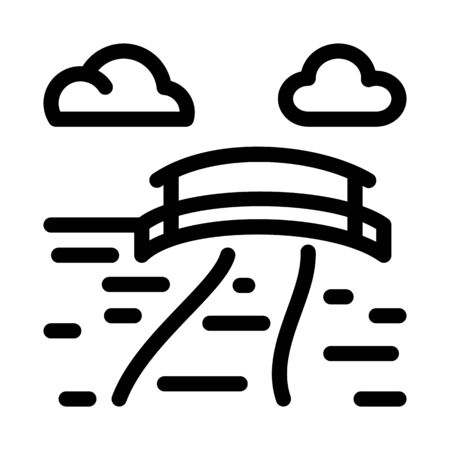 current river with bridge icon vector. current river with bridge sign. isolated contour symbol illustration