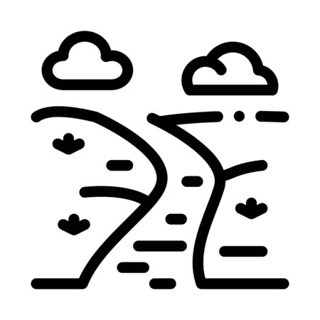 river landscape among meadow icon vector. river landscape among meadow sign. isolated contour symbol illustration