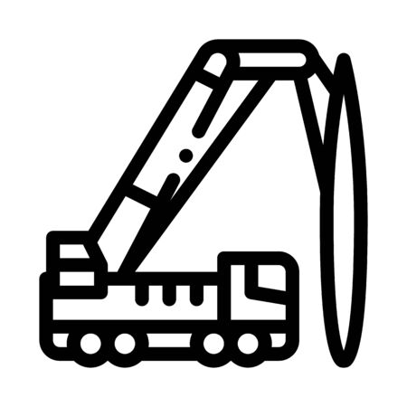 truck mounted crane icon vector. truck mounted crane sign. isolated contour symbol illustration