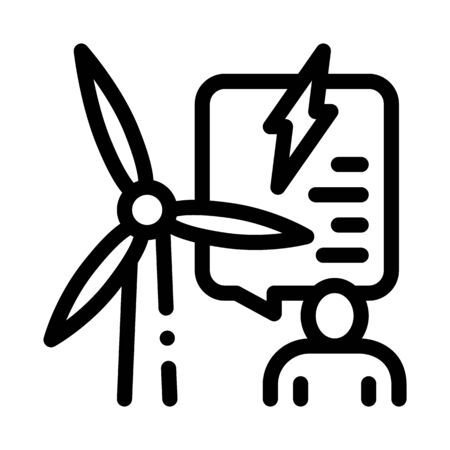 thought about benefits of wind energy icon vector. thought about benefits of wind energy sign. isolated contour symbol illustration