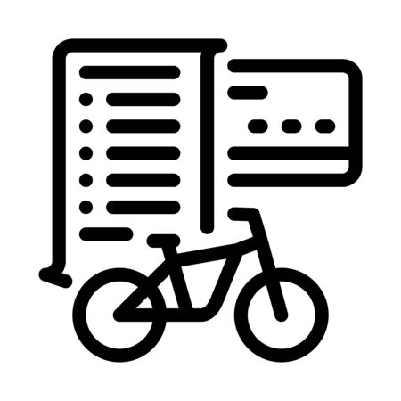 card payment bicycle services icon vector. card payment bicycle services sign. isolated contour symbol illustration Ilustracja