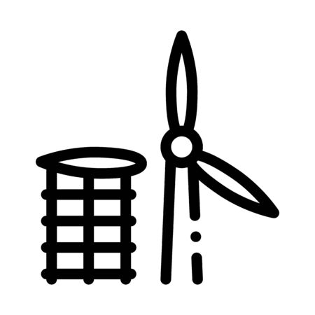 wing of windmill fell away icon vector. wing of windmill fell away sign. isolated contour symbol illustration