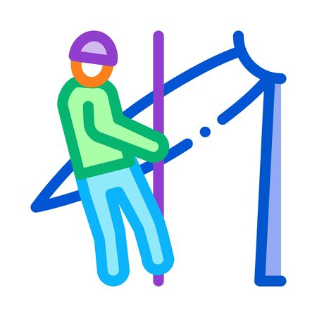 man worker with insurance icon vector. man worker with insurance sign. color symbol illustration