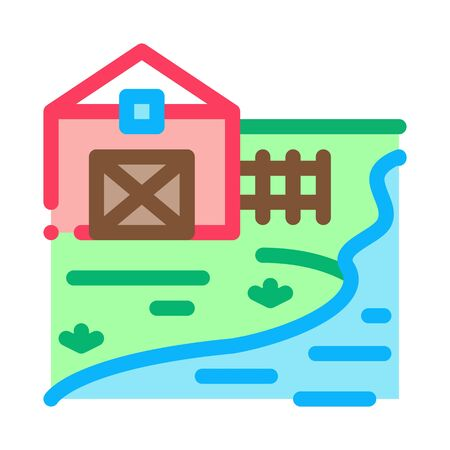 river landscape in sunny weather icon vector. river landscape in sunny weather sign. color symbol illustration 일러스트