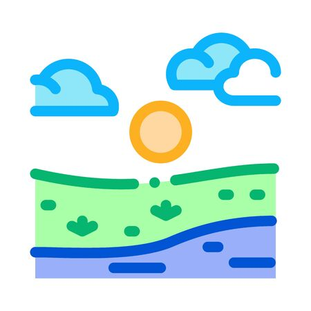 current river among urban city icon vector. current river among urban city sign. color symbol illustration