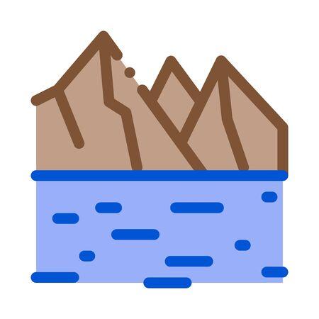 raking current river icon vector. raking current river sign. color symbol illustration