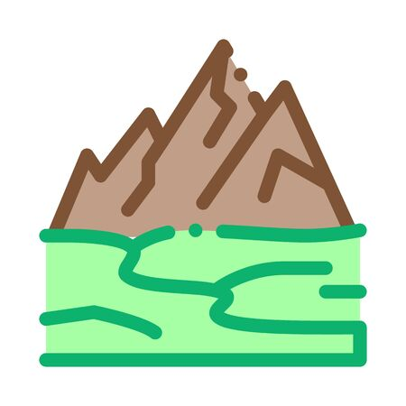 high mountains terrain icon vector. high mountains terrain sign. color symbol illustration