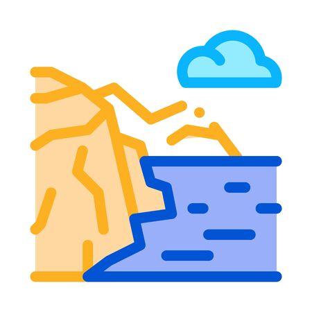 mountain landscape near sea icon vector. mountain landscape near sea sign. color symbol illustration