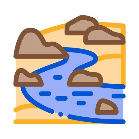 flowing river icon vector. flowing river sign. color symbol illustration