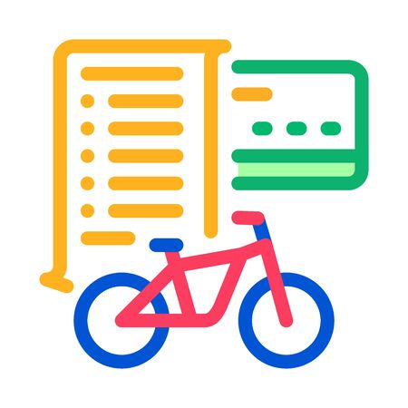 card payment bicycle services icon vector. card payment bicycle services sign. color symbol illustration