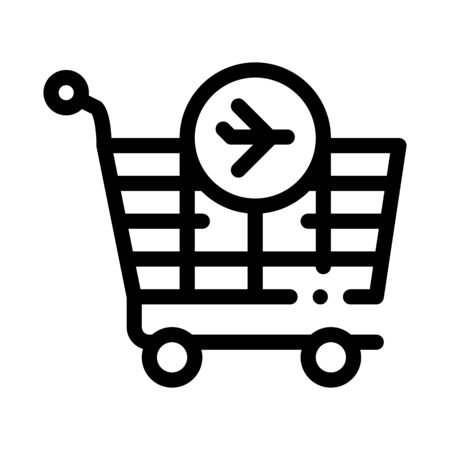 trolley for duty free products icon vector. trolley for duty free products sign. isolated contour symbol illustration Illusztráció