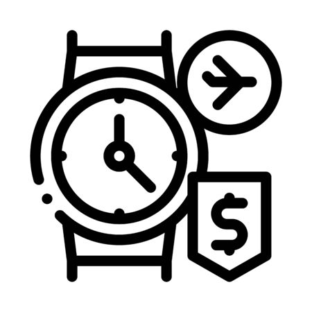 purchase cash wristwatch duty free icon vector. purchase cash wristwatch duty free sign. isolated contour symbol illustration