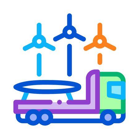 truck with wind energy technology background icon vector. truck with wind energy technology background sign. color symbol illustration Illustration