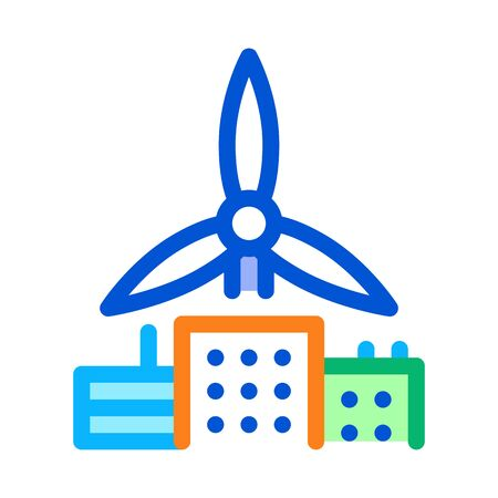 wind energy residential technology icon vector. wind energy residential technology sign. color symbol illustration