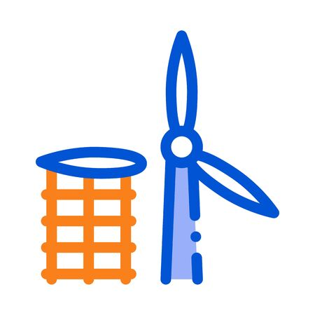 wing of windmill fell away icon vector. wing of windmill fell away sign. color symbol illustration