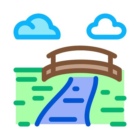 flowing river among coniferous forests icon vector. flowing river among coniferous forests sign. color symbol illustration 일러스트