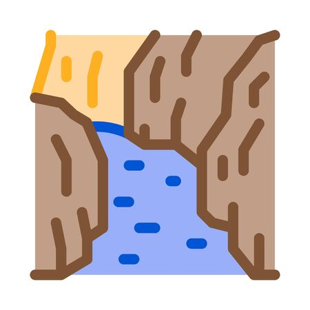 flowing river among different types of trees icon vector. flowing river among different types of trees sign. color symbol illustration