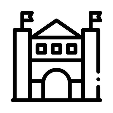 castle amusement park icon vector. castle amusement park sign. isolated contour symbol illustration Illustration
