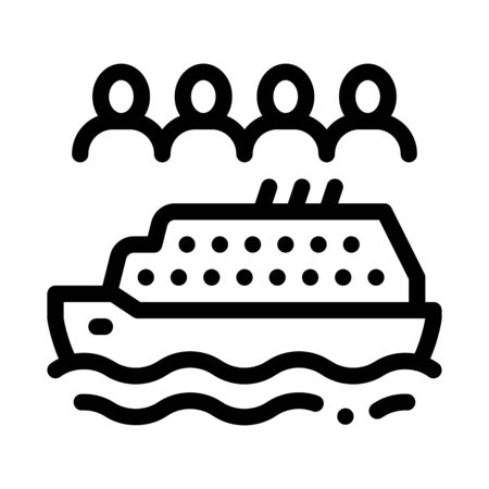 sea crossing liner people icon vector. sea crossing liner people sign. isolated contour symbol illustration