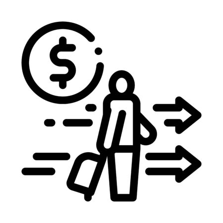 man with suitcase with money icon vector. man with suitcase with money sign. isolated contour symbol illustration