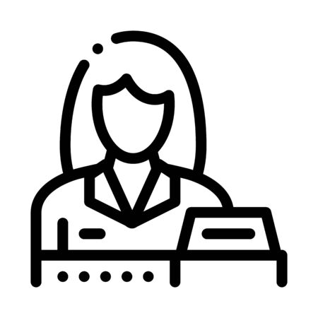 woman seller at checkout icon vector. woman seller at checkout sign. isolated contour symbol illustration